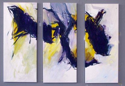 Triptychon Karfreitag Kreuzigung 3x 50x20 cm / Acryl