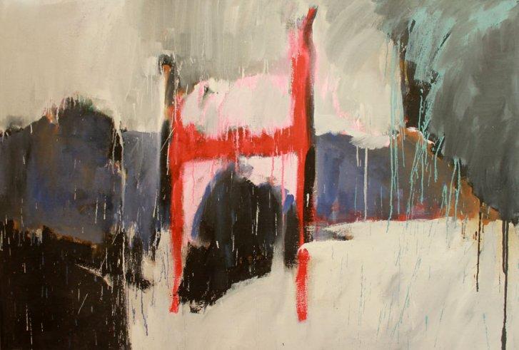 Roter Stuhl auf Jute / 125x185 / Acryl