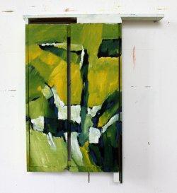 Hellgrüner Kasten / 95x43 cm / Acryl auf Holz
