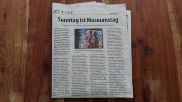 Zeitungsartikel Sonntag ist Museumstag