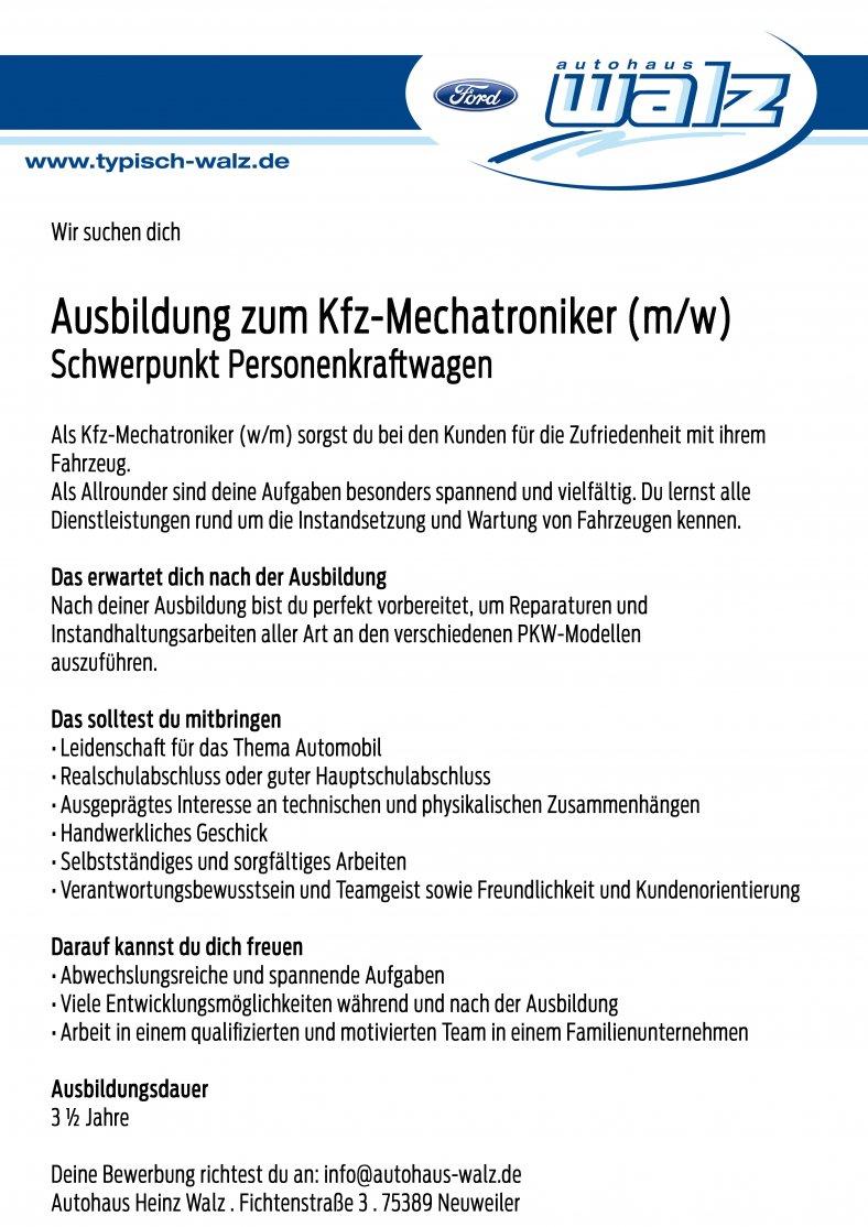 Ausbildung zum Kfz-Mechatroniker (mw)