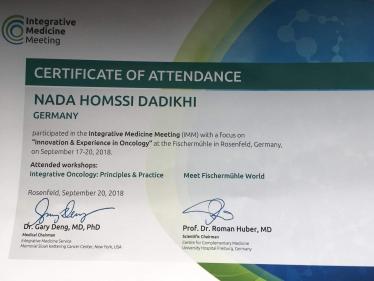 Nada Dadikhi Certificate of Attendance