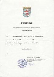 Urkunde Krankenschwester Palmira Novooussenlieva