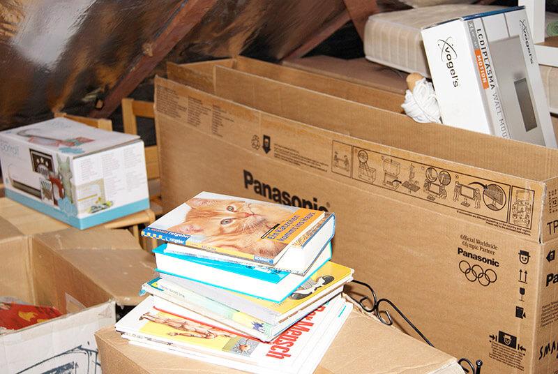 gesammlte Bücher und Kartons entsorgen