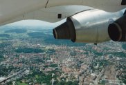 BAe 146-300 climb over Bern, the Swiss Capital