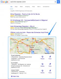 Local SEO - Google Suchresultate mit 3 Pack Listing