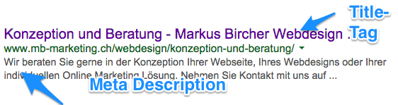 Google Ranking verbessern - Title-Tag und Meta Description