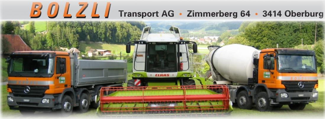 Bolzli Transport AG, Betonmischer, Mähdrescher, Lastwagen