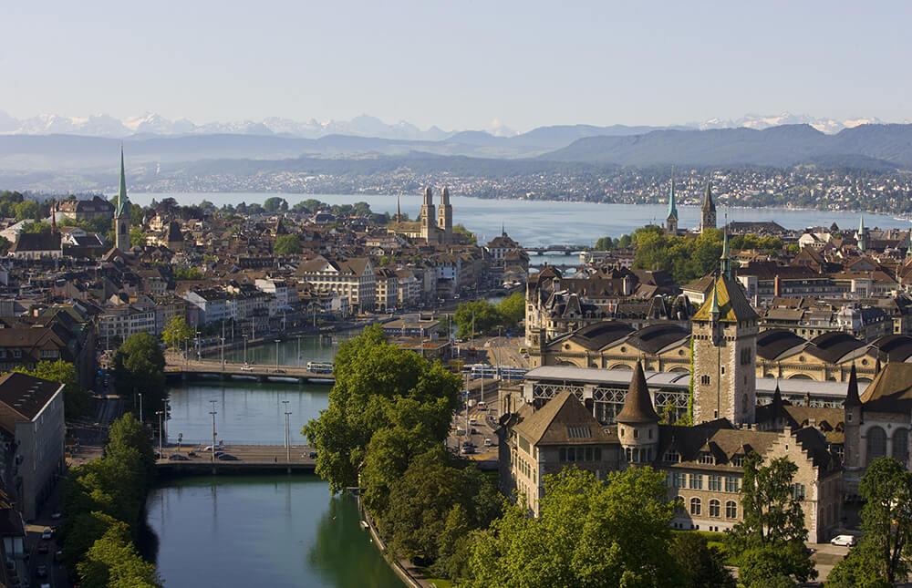 Stadt Zürich Panorama Aufnahme