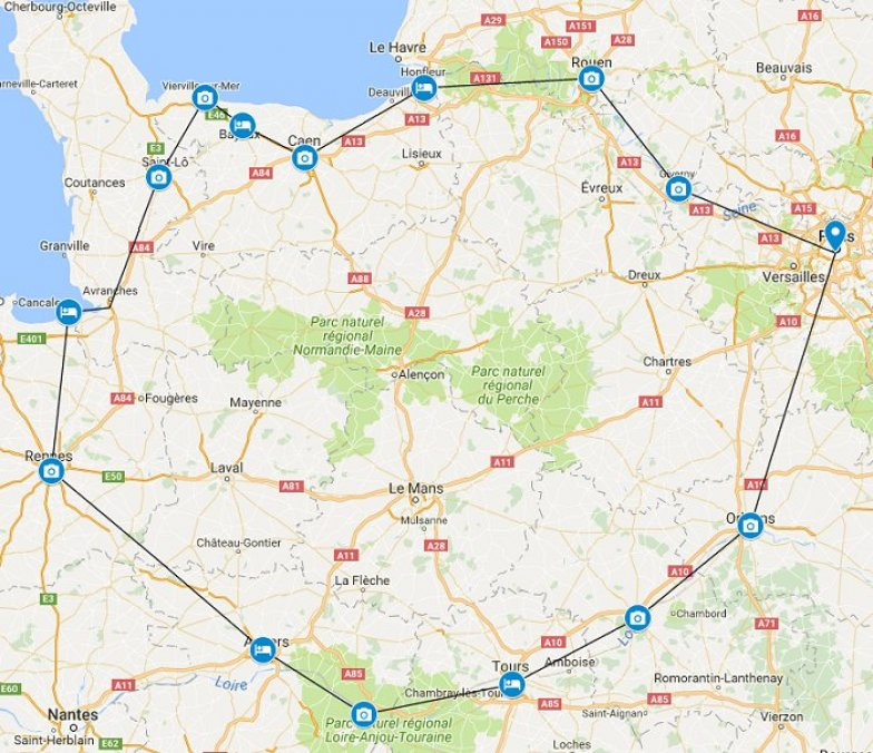 Best of Paris - Normandy - Loire Valley Road Trip Itinerary