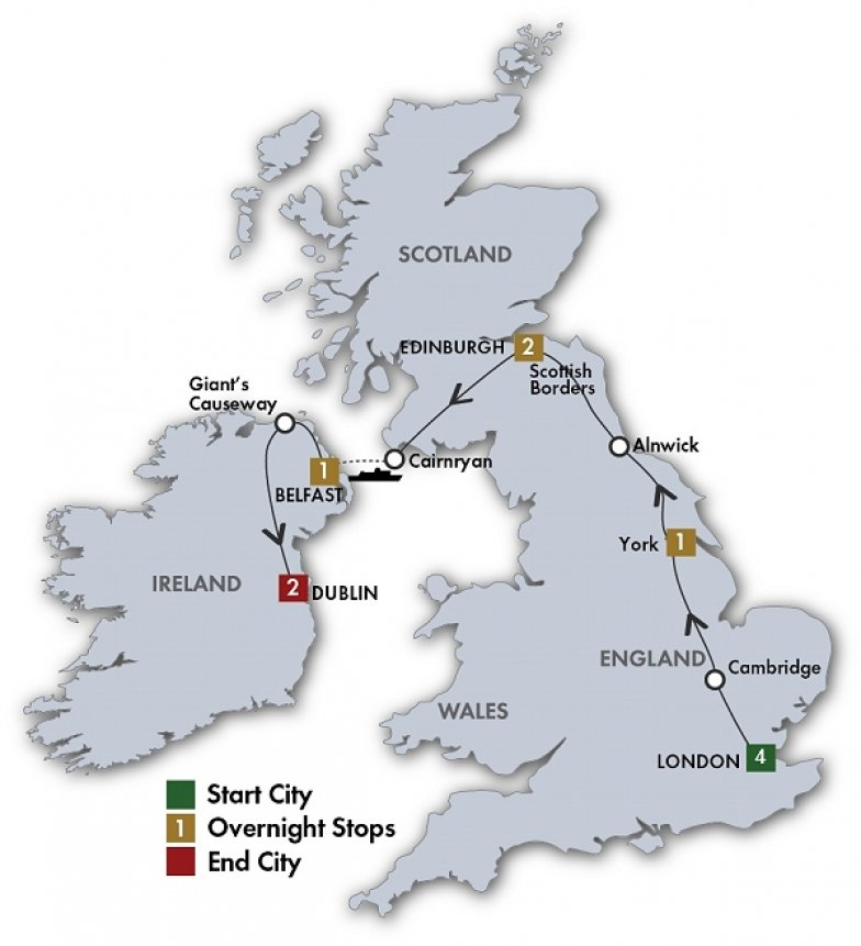 British And Irish Delight Quality Escorted Coach Tour Itinerary