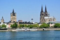 Cologne With Rhine River And Dom