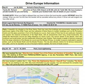Drive Europe Tour Information