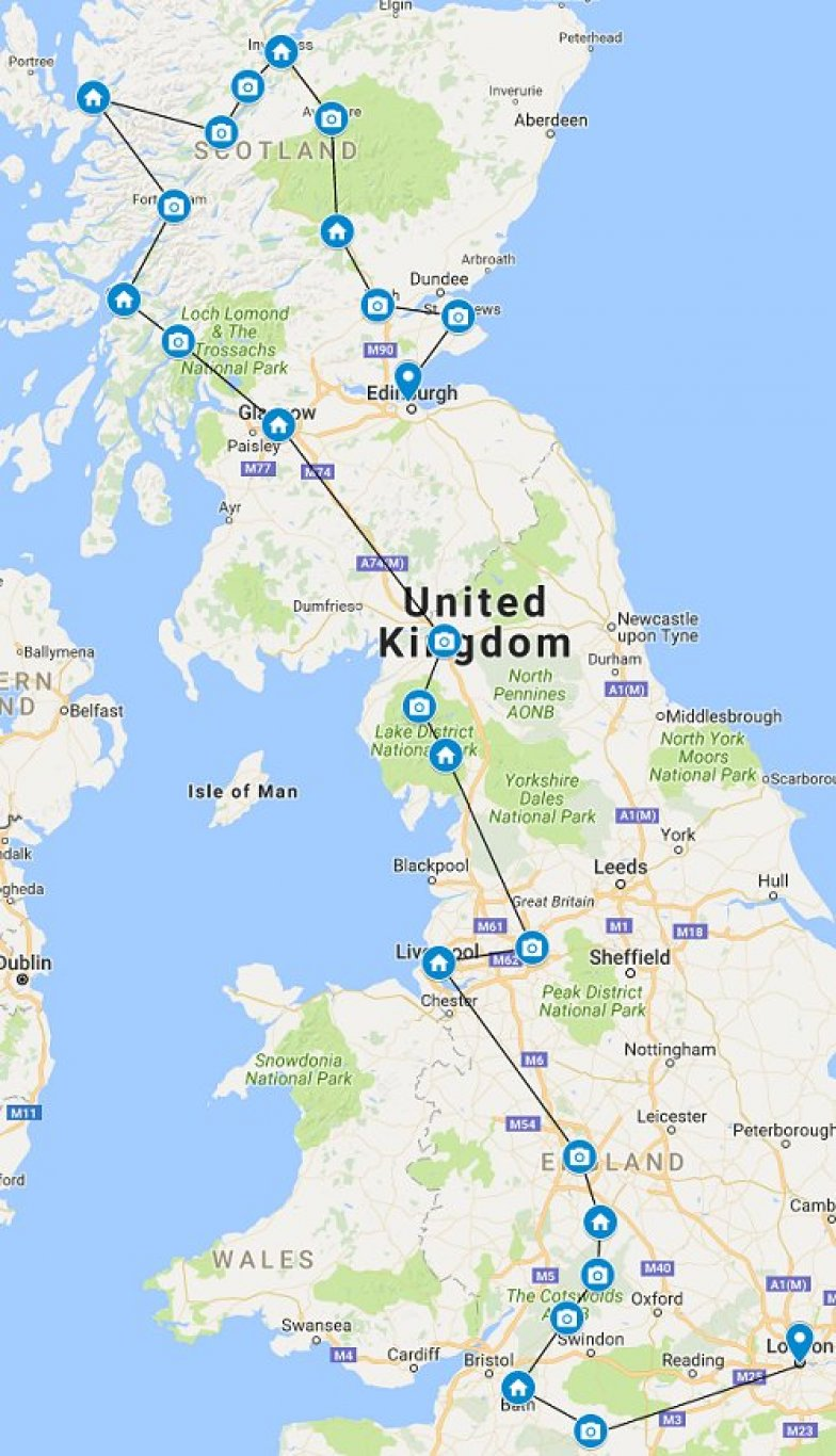 Road Map Of England And Scotland.Uk Road Trip To England And Scotland Best Of Driving Tour
