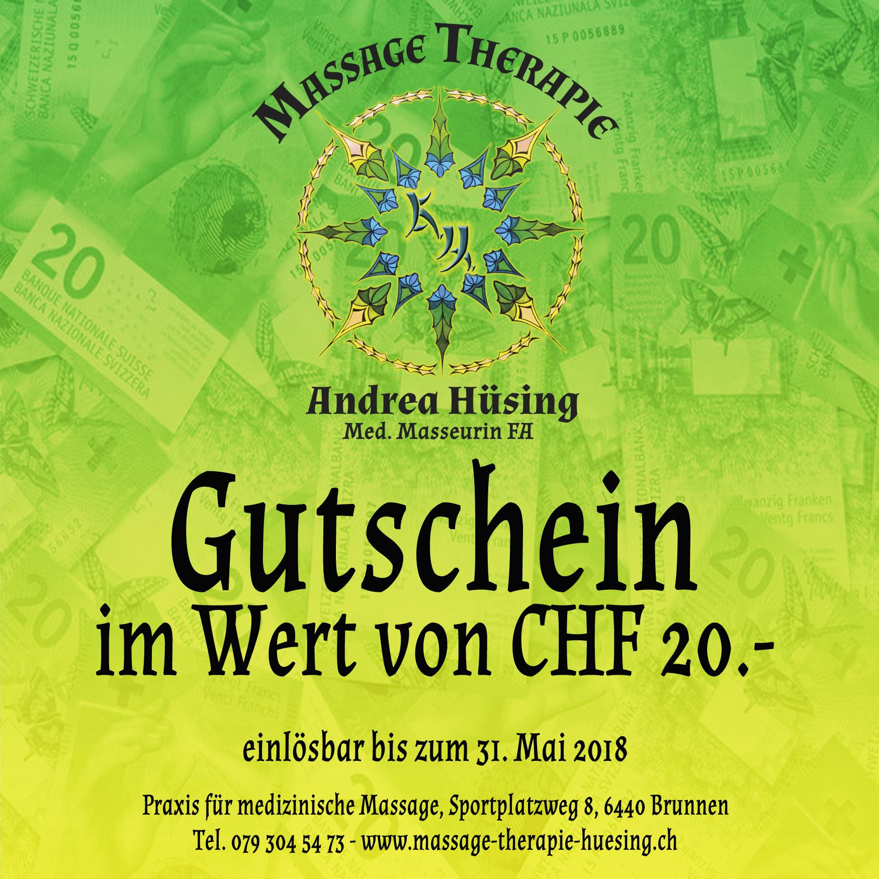 Gutschein CHF 20.- Frühjahr 2018 - gültig bis 31.5.2018