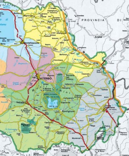 Tuscia Map with Viterbo