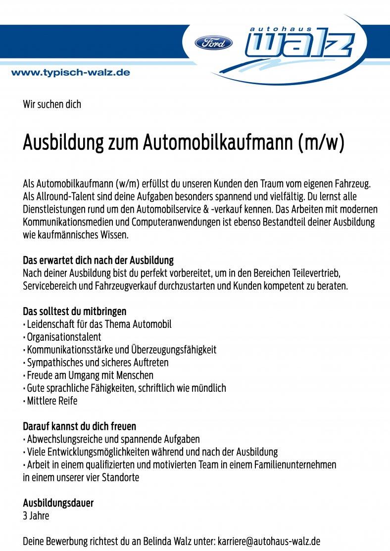 Ausbildung zum Automobilkaufmann (m/w)