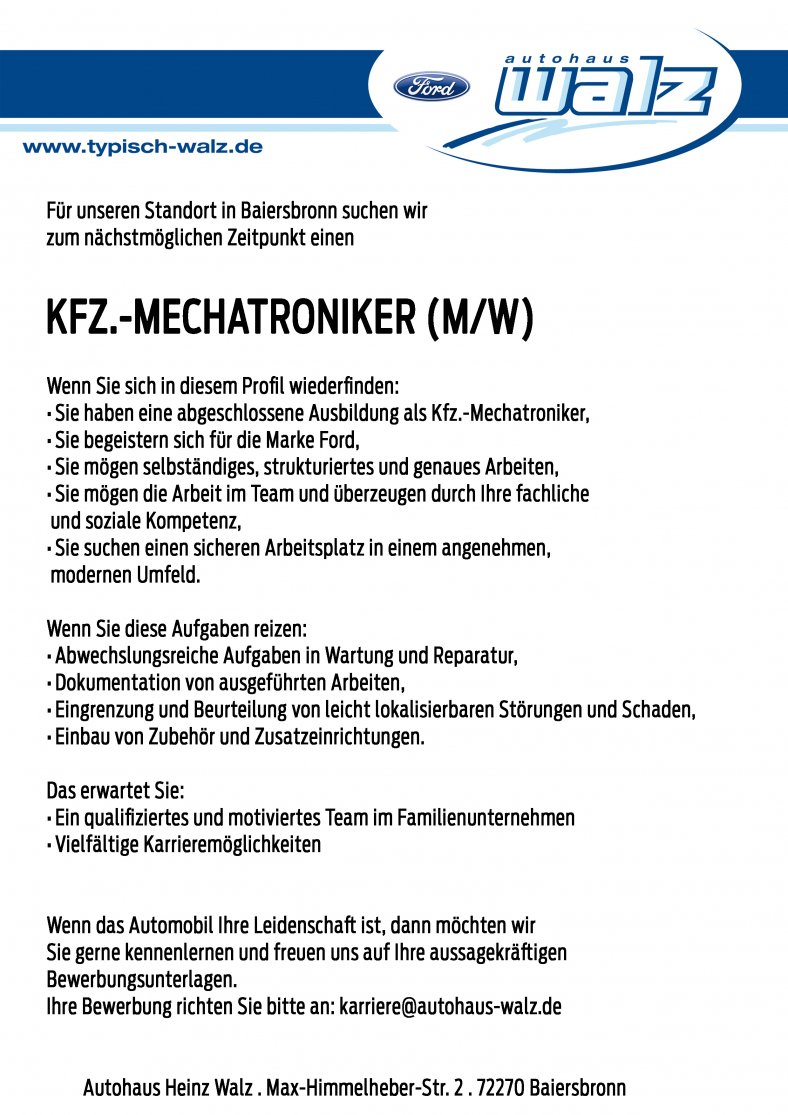 Kfz.-Mechatroniker für Baiersbronn gesucht