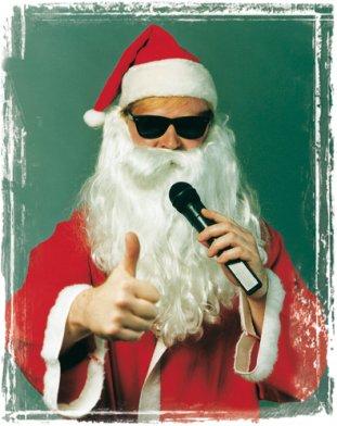 Weihnachtsfeier Frankfurt - singender Santa Claus