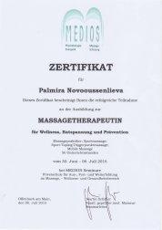 Zertifikat Massagetherapeutin Palmira Novooussenlieva