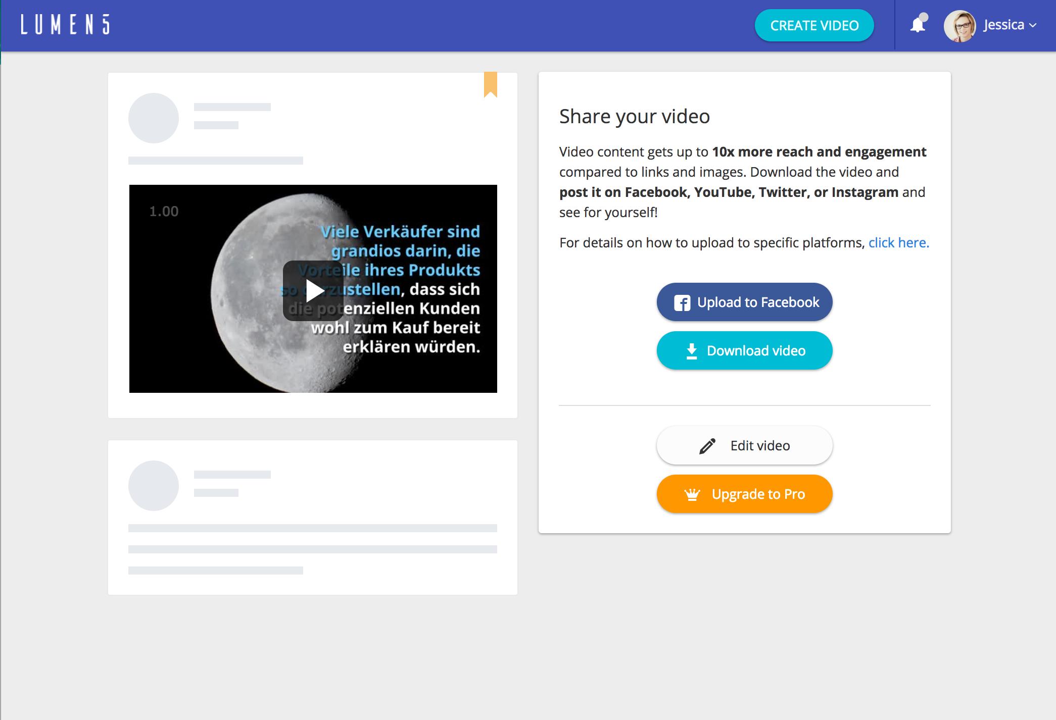 Lumen5 Video Download und sharing