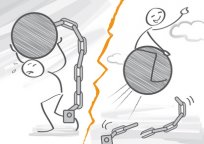 Stahlkugel an Kette versus Gummiball in Freiheit