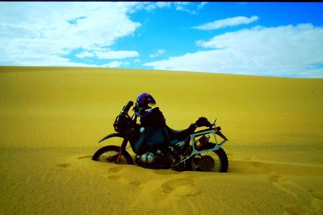 Wer bremst verliert - hier in der weißen Wüste Ägyptens...