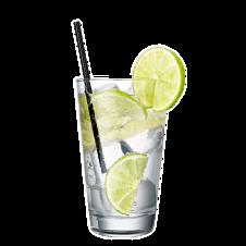 Getränkeglas mit Zitronen und Strohhalm