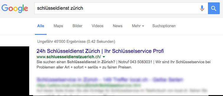 Referenz von Schlüsseldienst Zürich Webseite