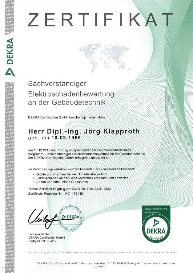 Klapproth engineering GmbH Gleichen Göttingen Dekra Sachverständiger