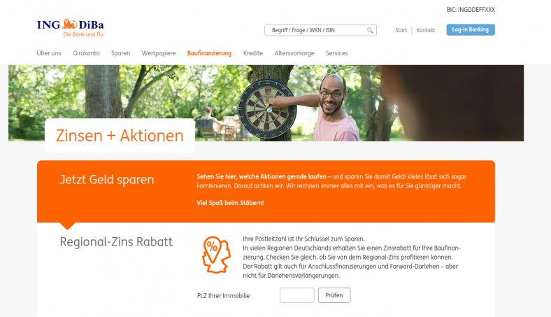 Die ING DiBa Webseite im August 2017