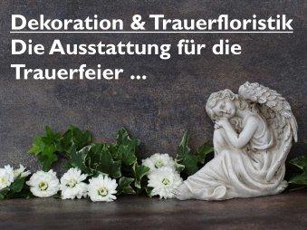 Bild und Link zur Ausstattung der Trauerfeier mit entsprechender Dekoration und Trauerfloristik