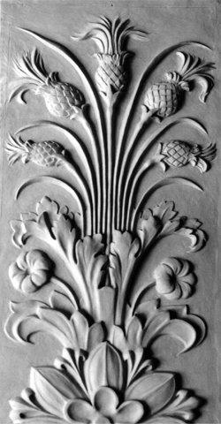 Modellierte Kopie klassizistischer Schmuckplatten für ein Architekturdenkmal, Terrakotta, Akanthus