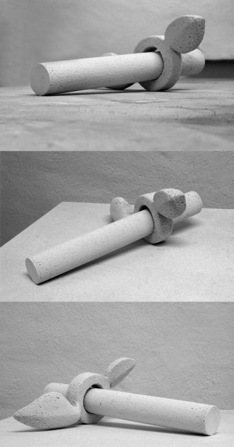 Modell für eine Außenskulptur aus Sandstein, gestaltet von der Bildhauerin Katharina Hochhaus.