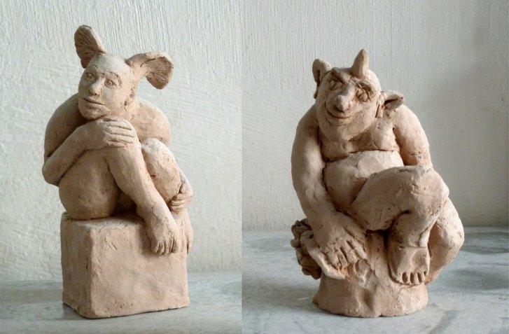 Nymphe und Satyr Skulpturen-Modelle, gestaltet von Kaharina Hochhaus, Bildhauerin aus Köln.