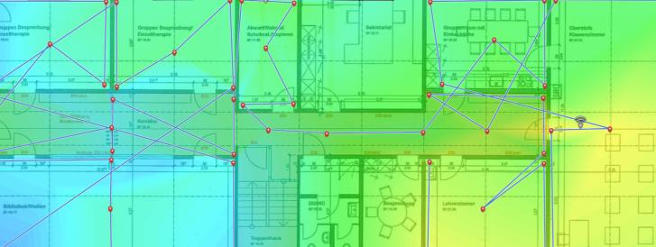 Heatmap mit Messpunkten und WLAN Signalabdeckung