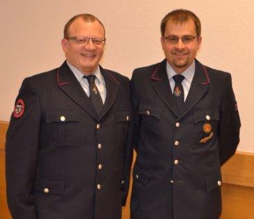Abteilungskommandant Timo Lahnert (links); Stellvertreter Florian Stickel (rechts)