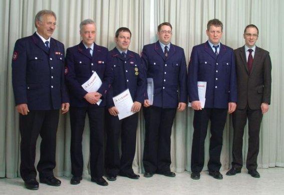 v.l.n.r. Gerhard Stahl, Bert Karrer, Eugen Drexel, Markus Beck, Michael Busch und Bürgermeister Ohr