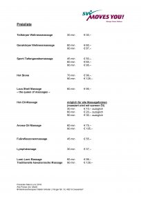 Preisliste Massage Stefan Wüster Düsseldorf