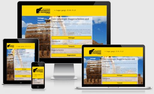 Webdesign Referenz Dani Leuzinger Baggerarbeiten