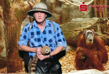 Tropical explorer with raccoon.