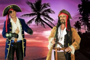 Pirates walkact with wonderful shell game.