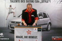 Roadshow with shell game at the super talent campaign of Suzuki.
