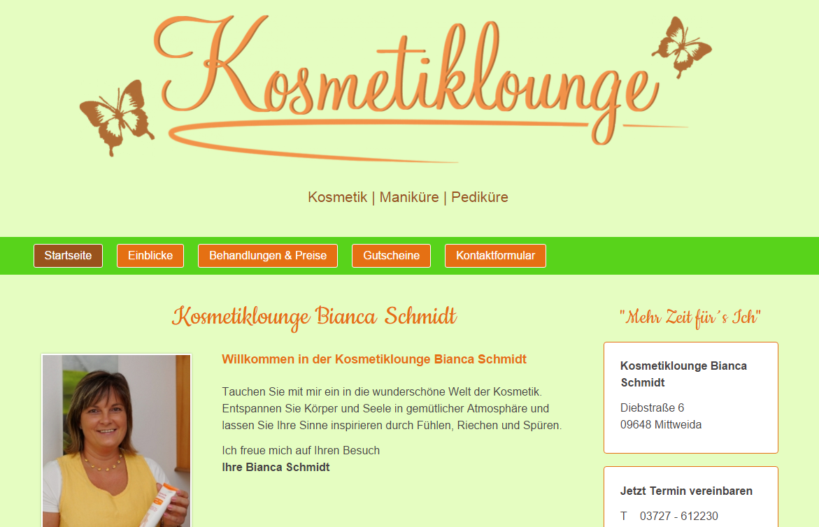 Kosmetikstudio Homepage erstellen