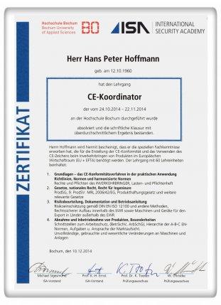 CE-Koordinator Dipl.-Ing. Hans Peter Hoffmann - CE-Kennzeichnung Köln - Zertifikat CE-Kordinator