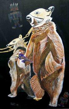 BÄREN UND KATSINAS</br>Mischtechnik auf Leinwand, 120 x 80 cm, 2008