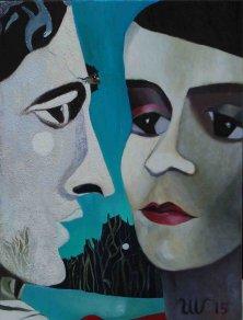 CLAIRE DE LUNE</br >Mixed media on canvas, 80 x 60 cm, 2015