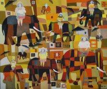 HAREMSAUSFLUG</br>Öl auf Leinwand, 100 x 120 cm, 2010