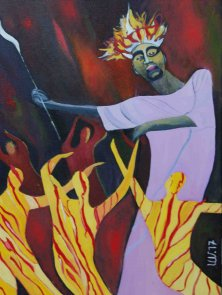 RULER OF THE BUSHFIRE</br>Oil on canvas, 80 x 60 cm, 2017