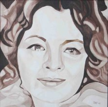 LA PASSANTE DE SANS-SOUCI (PORTRAIT ROMY SCHNEIDER)</br >Watercolour on canvas, 90 x 90 cm, 2009